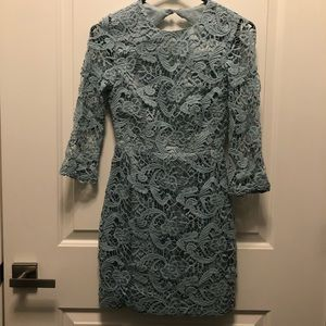 Asos Petite Blue Aqua Open Back Lace Dress 0P